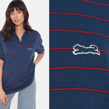Le Tigre Polo Shirt 80s Blue Striped Tiger Half Button Up Shirt Red Blue V Neck Collared T Shirt 1980s Retro Vintage Medium Large by ShopExile