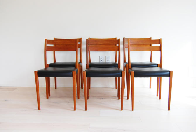 Mid Century Modern 6 Teak Svegards Markaryd Dining Chairs Made in Sweden by MidCentury55