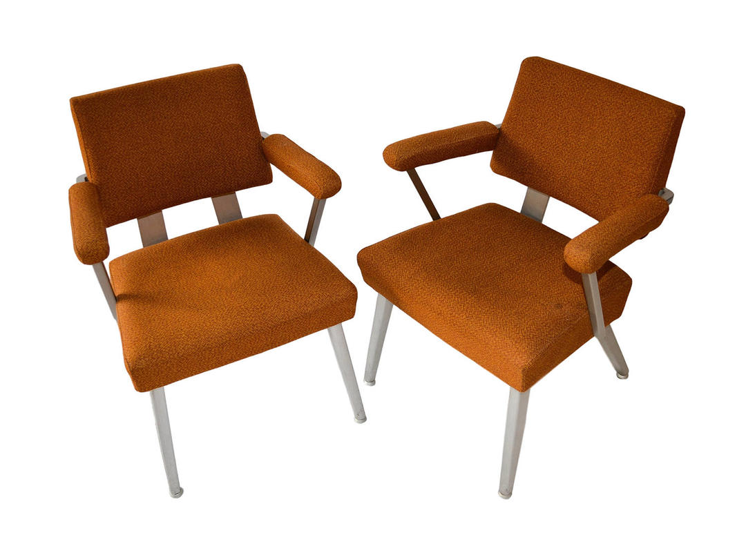 Pair Mid Century Modern General Fireproofing Good Form Aluminum Arm Chairs Retro By