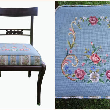 Antique Dining Chairs, Embroidered Needlepoint Cushions, Solid Wood Frame, Shabby Chic, Victorian Home Decor ***SOLD TO SUSAN**** by 3GirlsAntiques