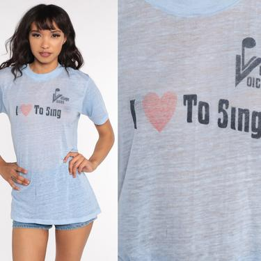 Vintage Choir Shirt I Love To Sing Village Voices Chorus Tshirt Singer Burnout Shirt Graphic T Shirt Paper Thin Tee 70s TShirt Medium Large by ShopExile