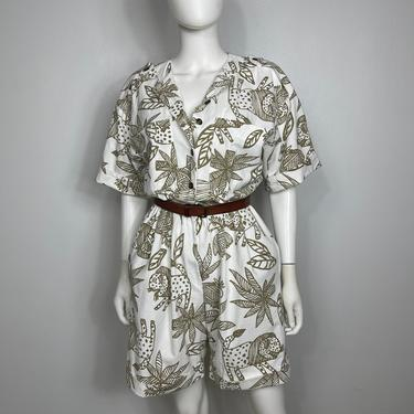 Vtg 80s cotton safari primitive romper jumpsuit jumper M by AnimalVintageMiami