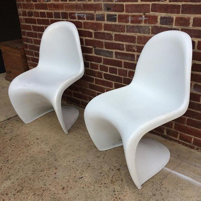 SOLD - Classic white Panton style chairs
