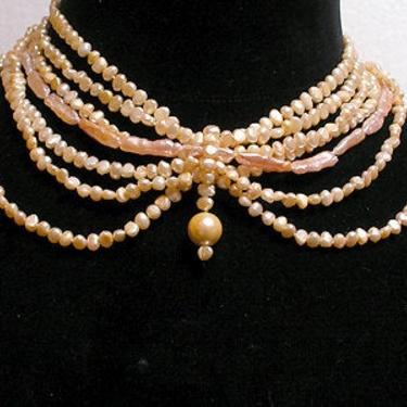 Cafe Society Collection Necklace:   Gold and Pink Pearls by CafeSocietyStore