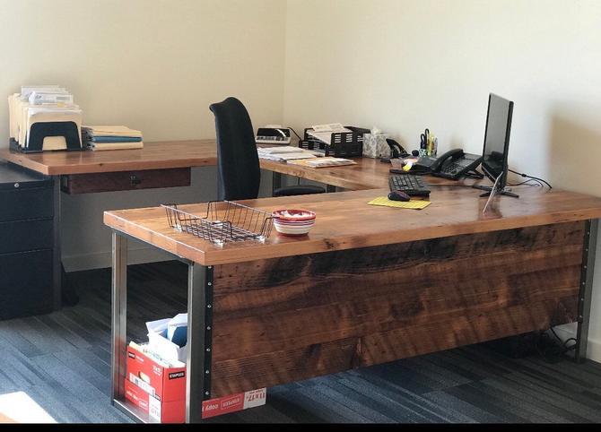 L Shaped Desk. Desk With Modesty Panel. Desk With Privacy Wall. Industrial Desk. Reclaimed Wood Desk. Office Desk. Corner Desk. Rustic Desk. by UrbanIndustrialNW