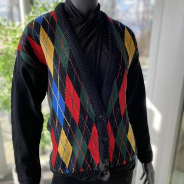 Vintage Women's Pendleton Virgin Wool V-Neck Argyle Cardigan Sweater 1980s Colorful Retro Grandpa Style by AIDSActionCommittee