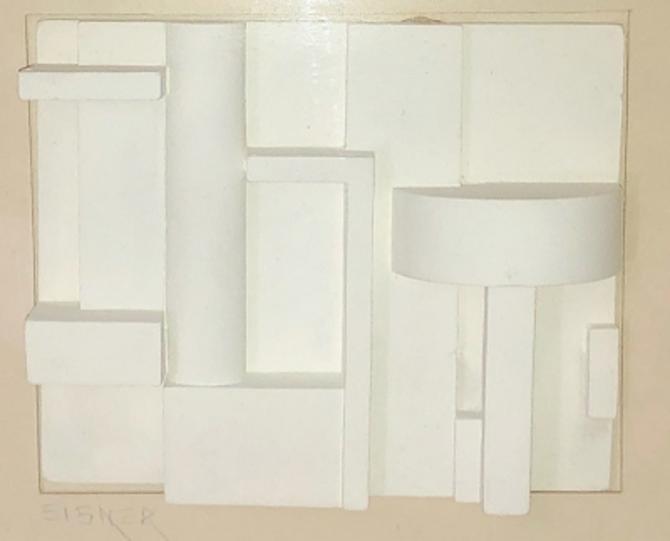Original Art by Jack Eisner Plaster Framed Sculpture Brutalist Constructivist Circa1970's