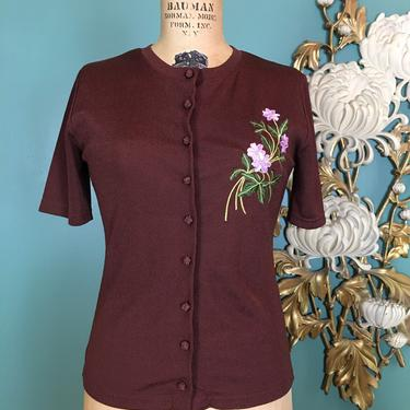 1990s shirt, stretchy top, vintage 90s shirt, knot buttons, embroidered flowers, small medium, lee sophy, brown and lilac, fitted, 34 bust by BlackLabelVintageWA