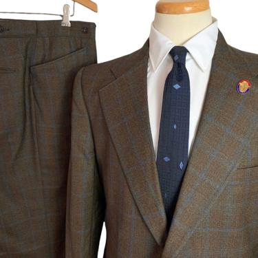 Vintage 1960s/1970s CURLEE CLOTHES Wool 2pc Suit ~ 40 to 42 ~ jacket / blazer / sack sport coat / pants ~ Shadow Plaid by SparrowsAndWolves