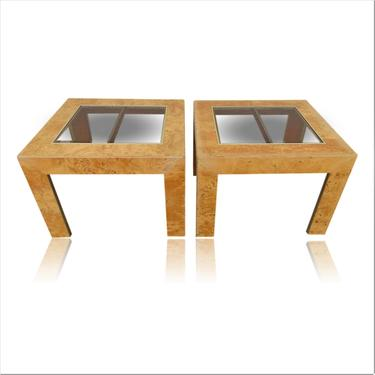 Pair of Burl Wood and Brass End Tables Milo Baughman Style by VeronaVintageHome