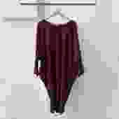 NaSuma Burgundy Batwing Dress