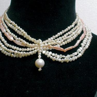 Cafe Society Collection Necklace:   Soft Green and Pink Pearls by CafeSocietyStore