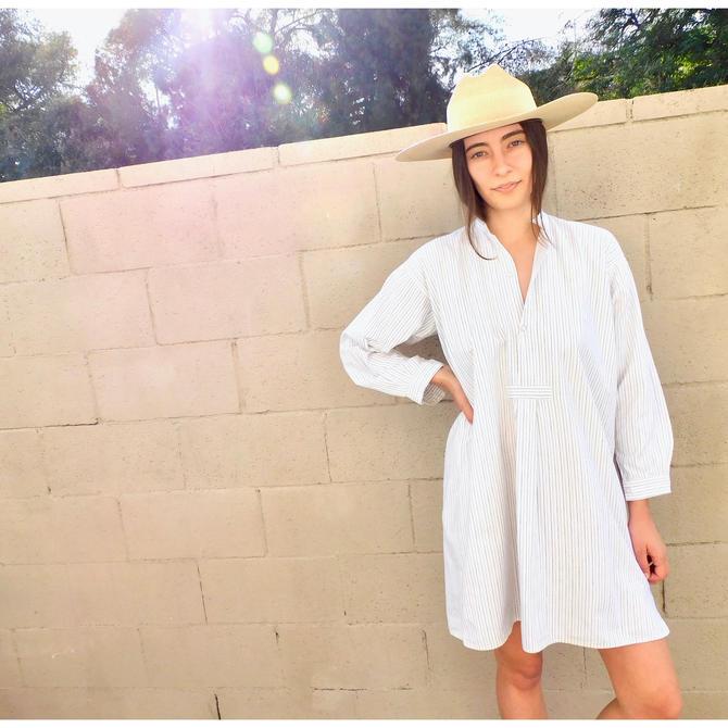 Victorian Pinstripe Dress // vintage boho hippie shirt shift mini white Victorian 1900s sun // O/S by FenixVintage