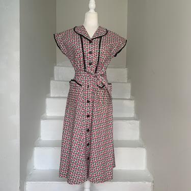 Late 1930s Jules Canton Day Dress Cute Print 34 Bust Vintage by AmalgamatedShop