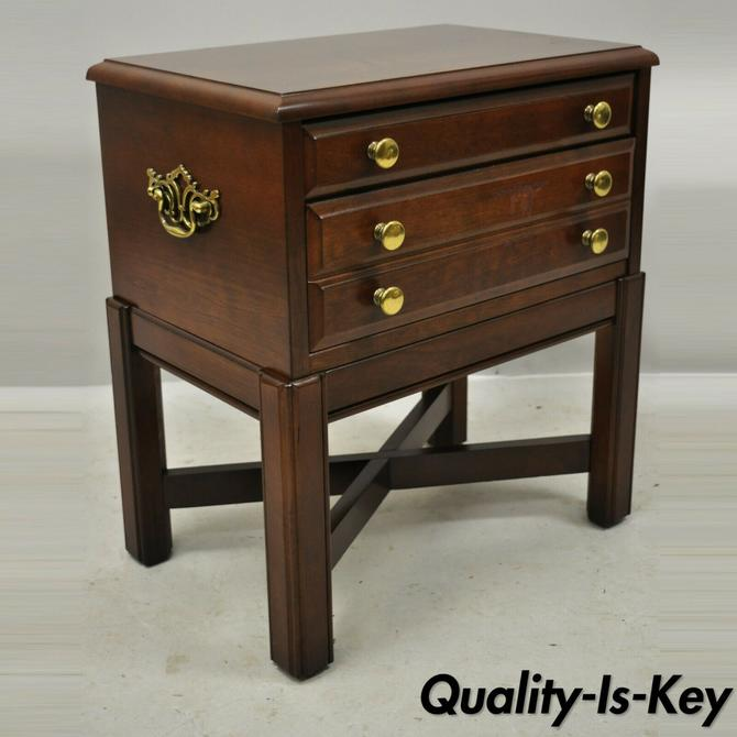 Vintage Bassett Chippendale Cherry Wood Small Two Drawer Silverware Chest Stand