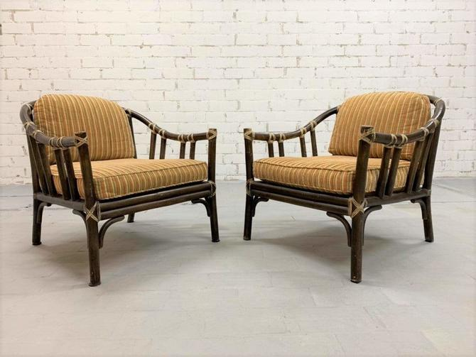 Pair of Vintage McGuire Hollywood Regency Mid-Century Bent Rattan Lounge Chairs