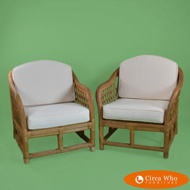 Pair of Twisted Rattan Lounge Chairs