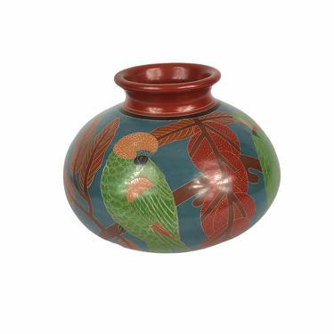 Vintage Large Clay Nicaraguan Art Pottery Vase Parrot McCaw Bird, signed by Northforkvintageshop