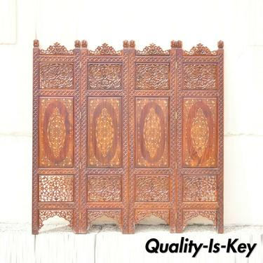 Vintage Anglo Indian Teak Wood Brass Inlay 4 Panel Room Divider Folding Screen