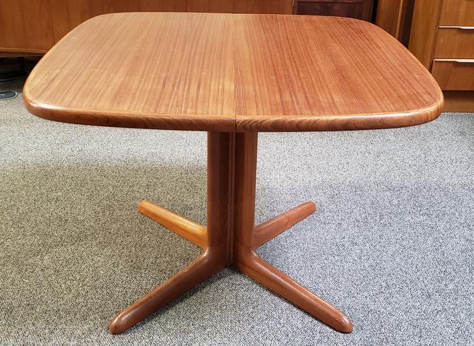Item #V403 Vintage Extending Teak Pedestal Base Dining Table c.1970