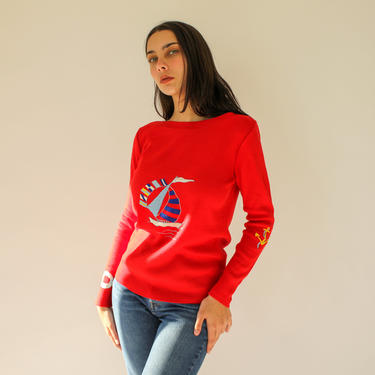 Vintage 70s LeRoy Knitwear Embroidered Nautical Sweater | 100% Acrylic | 1970s Vintage Embroidered Anchor Boat Neck Red Knit Sweater by TheVault1969