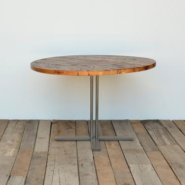 """Reclaimed Wood Pedestal Table-round/square/rectangle top, steel base-choice of color, size/finish.  4 Prong Standard Base overall height 30"""" by UrbanWoodGoods"""