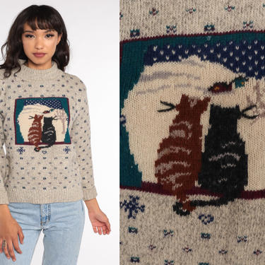 80s Cat Sweater Winter Snow Print Sweater Slouchy Boho Kitsch Hipster 1980s Vintage Kitten Kawaii Novelty Sweater Retro Knit Pullover Small by ShopExile