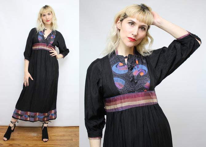 Vintage 70's Black Patchwork Celestial Patterned Maxi Dress / 1970's Space Dress / Women's Size XS - Small by RubyThreadsVintage