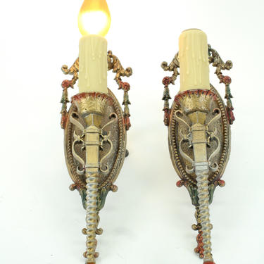 Pair 1920s Spanish Revival Sconces with Original Finish!  Shipping Included!   (Seven Sconces Available) by vintagefilament