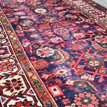 Vintage Hand Knotted Persian Style Floral Hamedan Runner, Lightly Distressed - 3′3″ × 9′7″ by SourcedModern