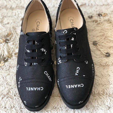 Vintage CHANEL Letters Logo Cap Toe Black White Sneakers Oxford Lace Ups Boots eu 38 us 7 - 7.5 - MINT by MoonStoneVintageLA