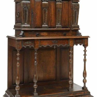 Antique Cabinet, French Oak Credence Cupboard On Stand, Marble Plaques, 1800's!