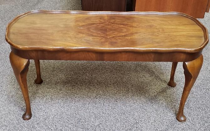 Item #T16 Vintage Walnut Coffee Table w/ Scalloped Edge c.1940s