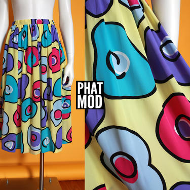 Bold Graphic Vintage 80s 90s Airy A-Line Skirt with Yellow Blue Pink Abstract Circles by RETMOD