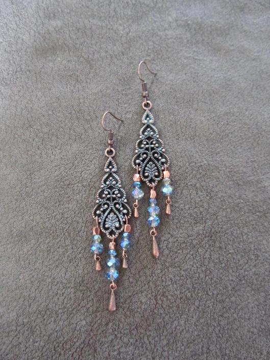 Patina chandelier earrings, crystal and copper gypsy earrings, boho earrings, large ethnic tribal earrings, bohemian unique princess bling 2 by Afrocasian