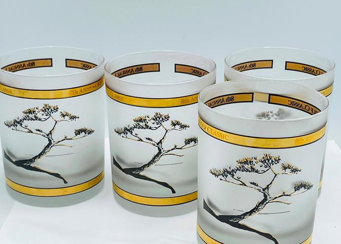 Vintage Set of four Torrey Pines golf tournament frosted Whiskey Gold  glass Las Duenas by JoAnntiques