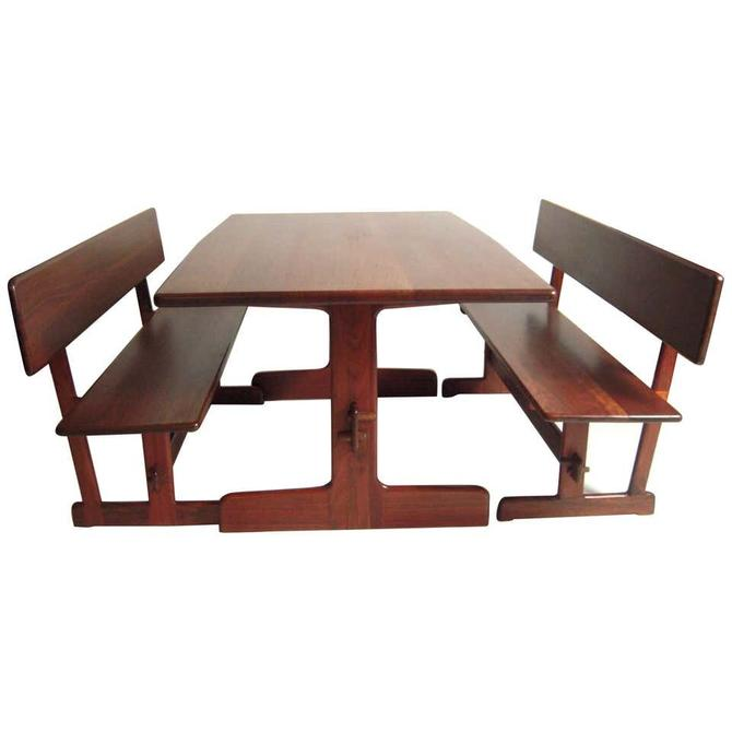 Gerald McCabe Dining Walnut Table with Two Benches