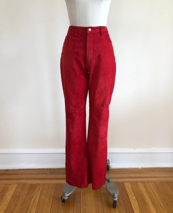 Bright Red Suede Bell-Bottom/Flare Pants - 1990s by LogansClothing