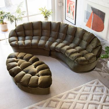1970's Olive Green Upholstered Sofa w/ Ottoman