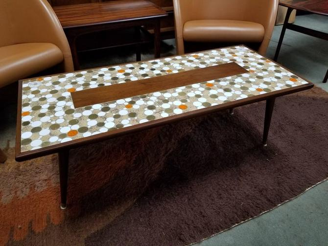 Mid-Century Modern walnut and tile top coffee table