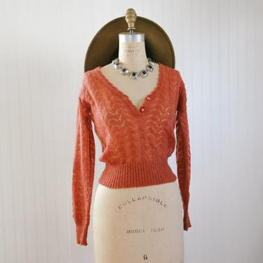 70s rust knit cropped sweater - xs small - designer vesna bricelj by foganddriftwood