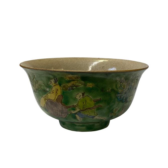 Chinese Green Glaze Ceramic People Graphic Painting Bowl ws1362E by GoldenLotusAntiques