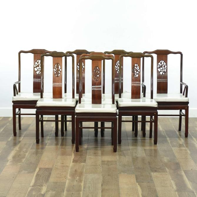 Set Of 8 Carved Asian Rosewood Dining Chairs