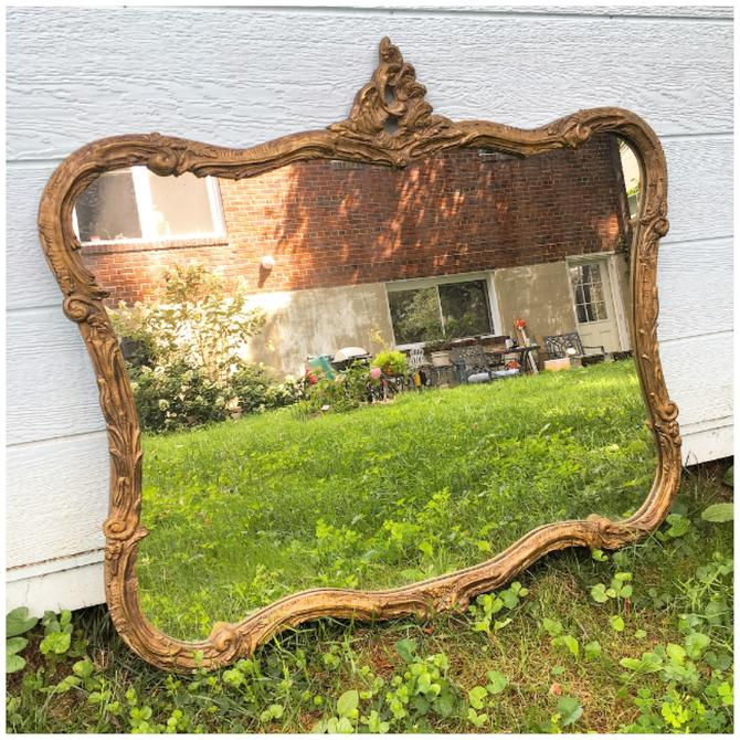 Large Antique Baroque Mirror
