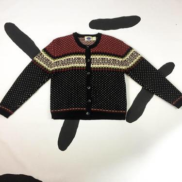 90s Black and Burnt Orange Fair Isle Cardigan Knit Sweater / Spin / y2k / Grunge / Size Medium / Oversize / Shetland Wool / Chunky /Clueless by badatpettingcats