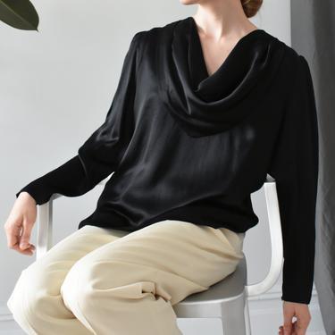 vintage black silk cowl neck blouse, button back satin shirt, size L by ImprovGoods