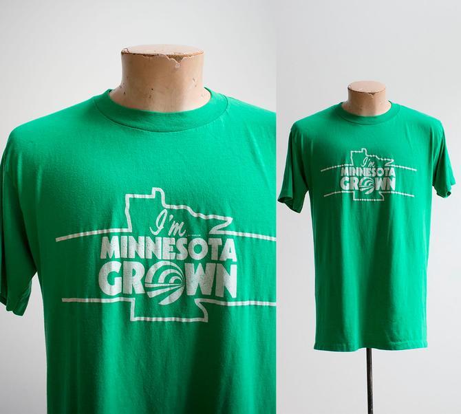 Vintage Minnesota Tshirt / 1980s Minnesota Tee / Vintage Minnesota Tshirt / Green Soft Broken In Tee / Vintage Tshirt Large by milkandice