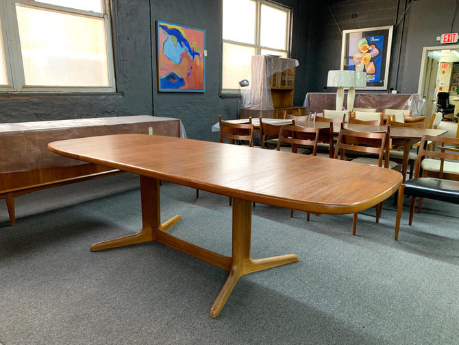 """DANISH TEAK EXPANDABLE EXTENSION TABLERefinished Teak.2 leaves.58""""L without leaves x 2, 20"""" leaves = 98"""" length x 39""""W x 28""""H$1400"""