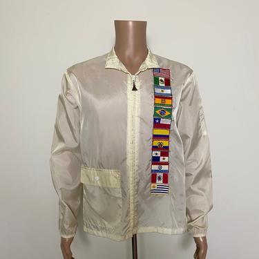 Vintage 1960s Nylon Jacket 60s Windbreaker with Flag Patches by littlestarsvintage