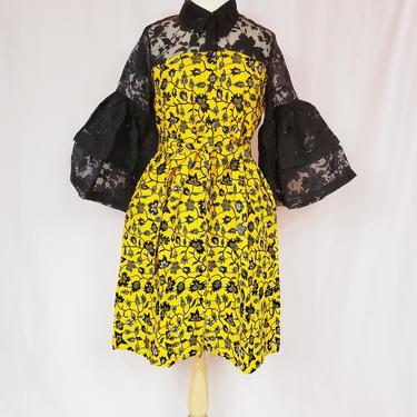 EJIRO Yellow and black ankara-organza dress with trumpet sleeves by GLAMMfashions